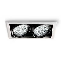 Встраиваемый светильник с двумя поворотными модулями,LED Edisson 24W 3000K Ra85/2400lm,блок питания в комплект, фото 1