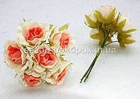 "Цветок ""Роза двухцветная"" тканевая (цена за букет из 6 шт) Белый с персиковым, фото 1"