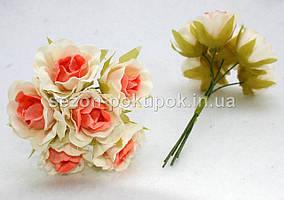"Цветок ""Роза двухцветная"" тканевая (цена за букет из 6 шт) Белый с персиковым"