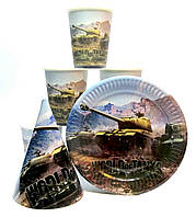 "Набор ""World of Tanks"". Тарелки (18см) -10шт. Стаканчики (250мл) -10шт. Колпачки (16см) -10шт."