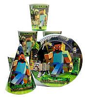 """Набор """"Minecraft"""".Тарелки (18см) -10шт. Стаканчики (250мл) -10шт. Колпачки (16см) -10шт."""