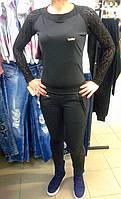 Женский спортивный костюм с кружевными вставками, черный