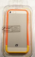 "Бампер со стеклом ""Szlf bumper glass orange-yellow"" для Apple iPhone 5/5S Чехол для айфона"