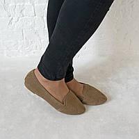 Туфли из натуральной замши бежевого цвета