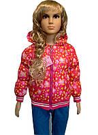 Куртка на манжете в цветочки для  девочек