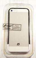 "Бампер со стеклом ""Szlf bumper glass  black-white"" для Apple iPhone 5/5S Чехол для айфона"
