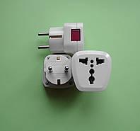 Переходник для трёхконтактной английской электровилки с подсветкой