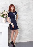 Строгое платье для офиса или встреч с друзьями (СБ-415-01) темно-синий, 42