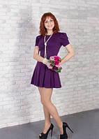 Строгое платье для офиса или встреч с друзьями (СБ-415-01) темно-фиолетовый, 42