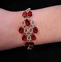 Браслет Ромб с красными камнями
