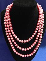 Бусы на шею  розовый жемчуг