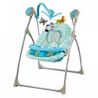 Шезлонг, качалка, качели детские  с пультом  Alexis-Babymix SW102RC-blue