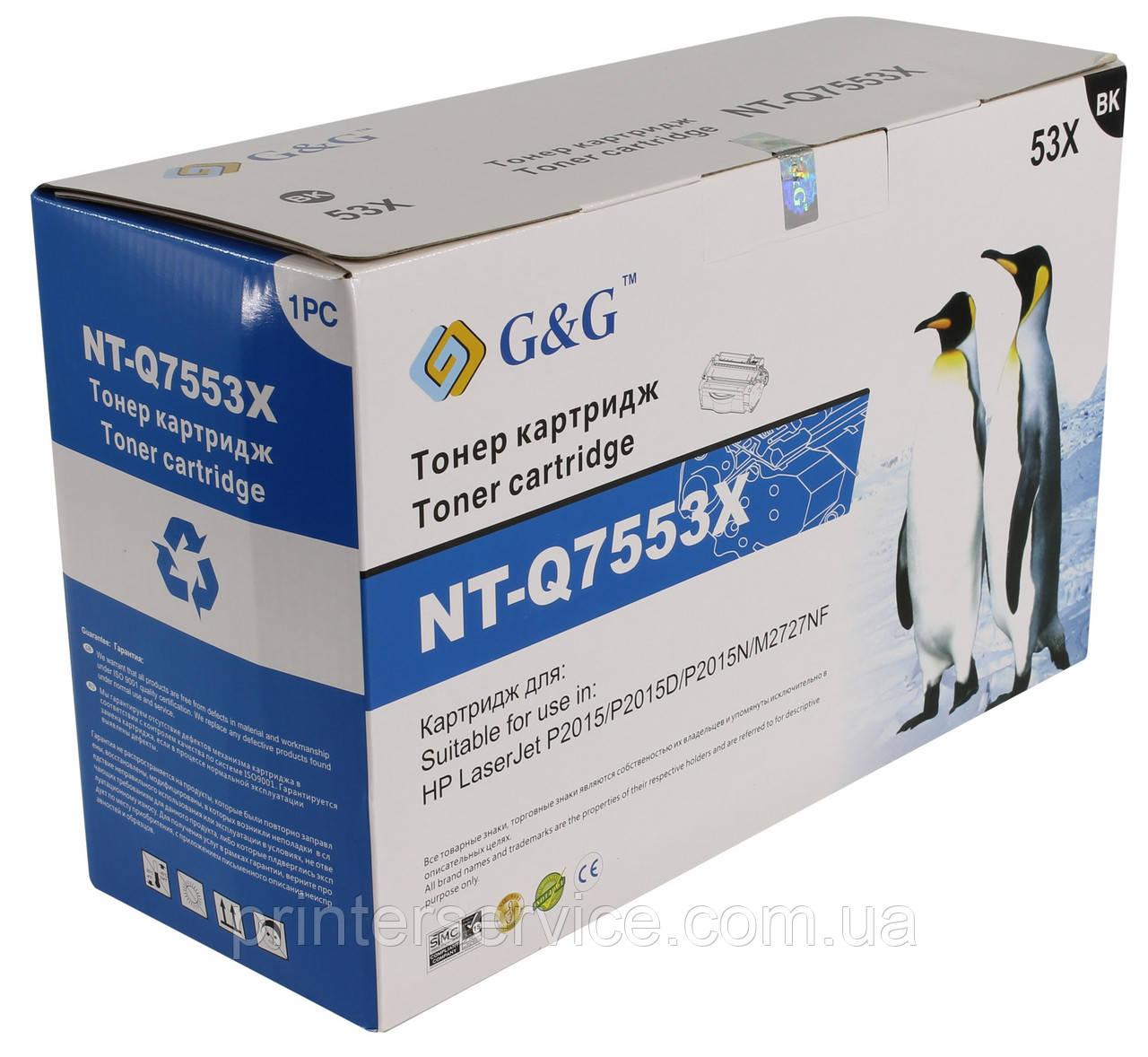 Картридж Q7553X совместимый для HP LJ P2015 M2727 series, G&G-Q7553X max Black