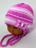 Бантик (сирень) весенняя шапка-ушанка для девочки