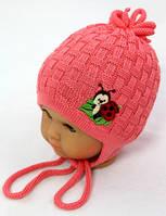Божья коровка (персик) весенняя шапочка для девочки