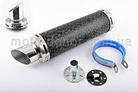 Глушитель (тюнинг)   300*90mm, креп. Ø48mm   (нержавейка, мрамор черный, прямоток, тип:3)