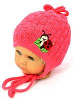 Божья коровка (малина) весенняя вязаная шапка на девочку