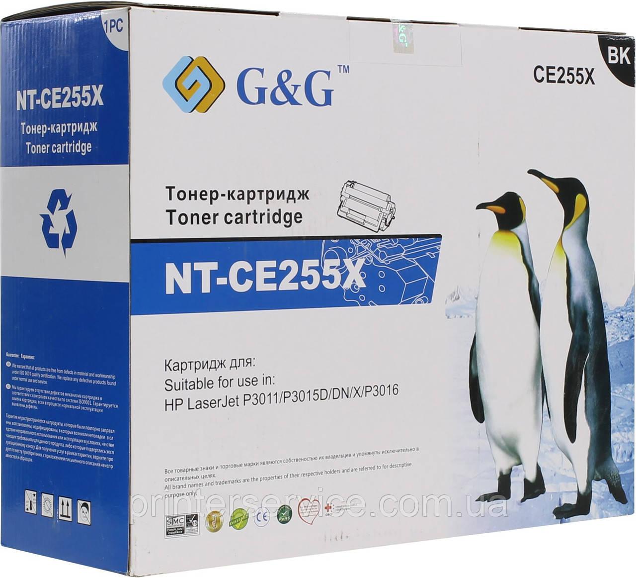 Картридж CE255X совместимый (аналог) для HP LJ P3011/ P3015/ P3016 series, G&G-CE255X max Black