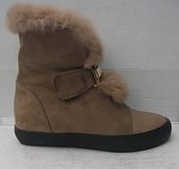 Ботинки женские зимние замшевые с меховой опушкой