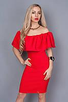 Эфектное платье красного цвета с молнией по всей длине