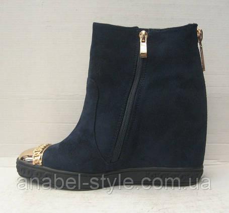 Ботинки зимние женские замшевые Casadei синие, фото 2