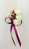 Бутоньерка роза для гостей, свидетелей