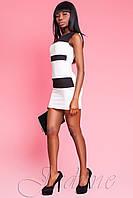 Короткое белое с черным платье Керри ТМ Жадон 42-50 размеры Jadone