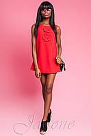 Короткое красное платье Монтерей ТМ Жадон 50-52 размер Jadone