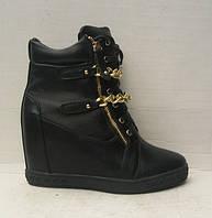 Сникерсы модные женские на шнуровке зимние