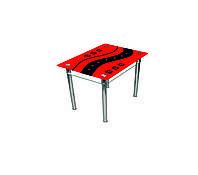 """Стол обеденный стеклянный с хромированным ножками """"Абстракция"""", 900*650*750"""