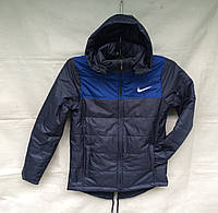 Куртка парка подростковая для мальчика 10-14 лет,темно синяя