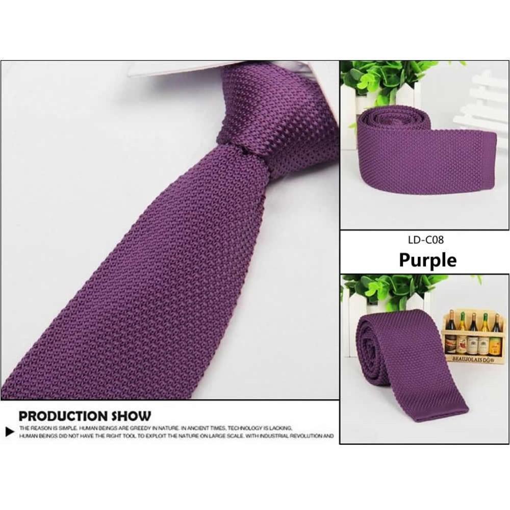 Галстук вязаный фиолетовый