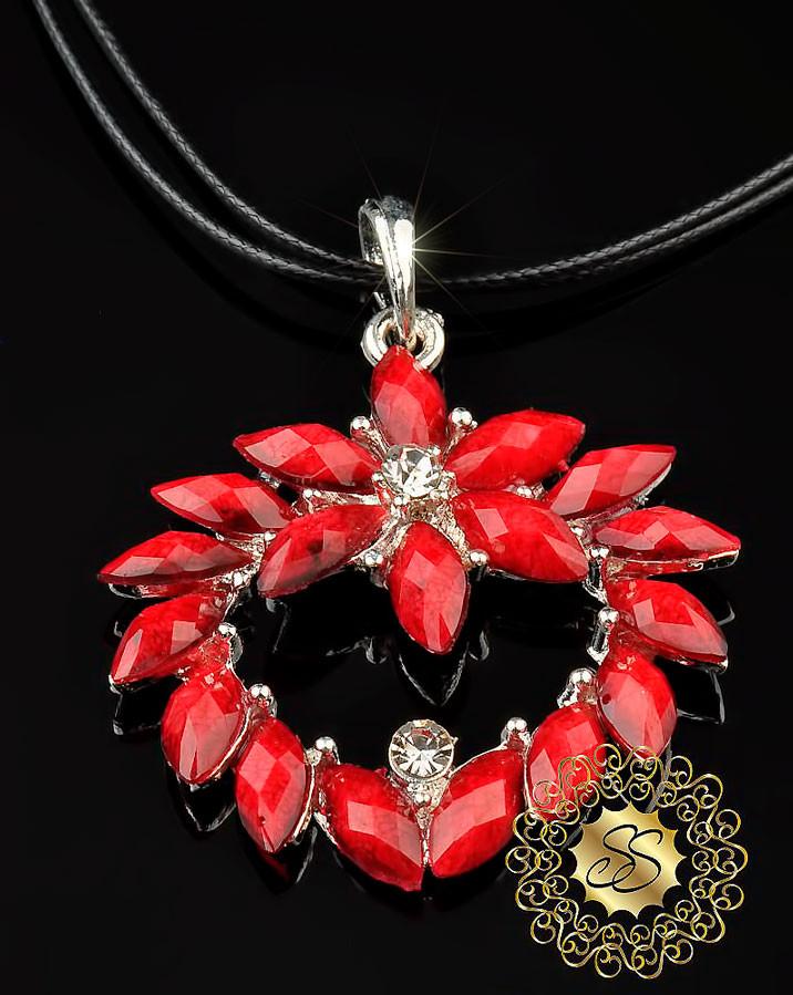 Красивая подвеска Красный цветок - Сувениры и бижутерия в магазине подарков Поле Чудес в Киеве