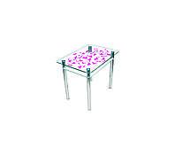 """Стол обеденный стеклянный с хромированным ножками """"Простор"""", 1100*650*750"""
