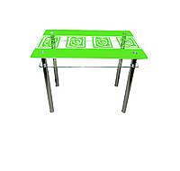 """Стол обеденный стеклянный с хромированным ножками """"Улитки"""", 900*650*750"""