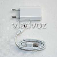 Зарядное устройство для iPhone 6, 5, 5G, 5C, 5S, iPad Mini + Кабель USB белое