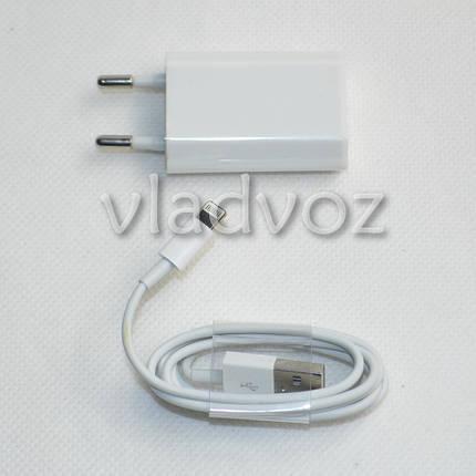 Зарядное устройство для iPhone 5, 5G, 5C, 5S, iPad Mini + Кабель USB белое, фото 2