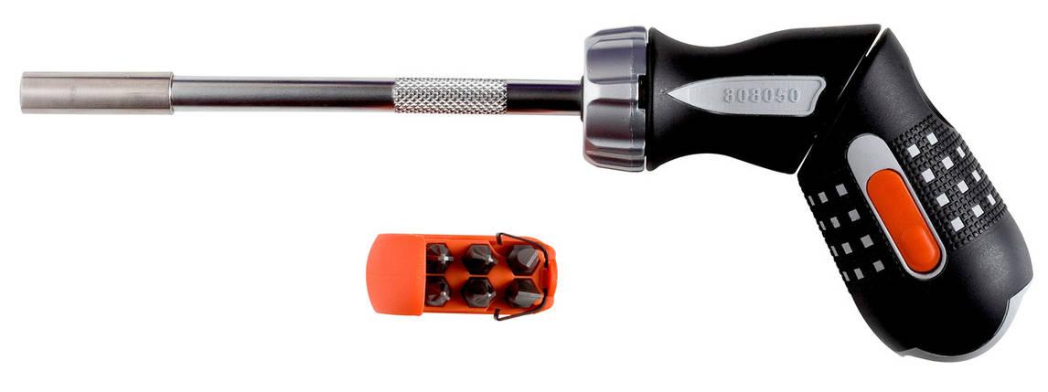 """Реверсивная рукоятка пистолетного типа для бит 1/4"""" , Bahco, 808050P, фото 2"""