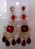 Свадебные серьги с красным камнем (С-Од-3)