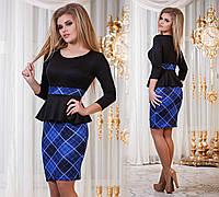 Д794  Платье с баской  Клетка синий