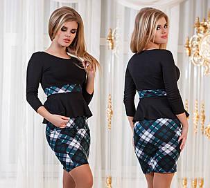Д794  Платье с баской  Клетка бутылочный, фото 2