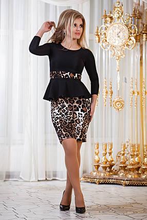 Д794  Платье с баской  Леопард, фото 2