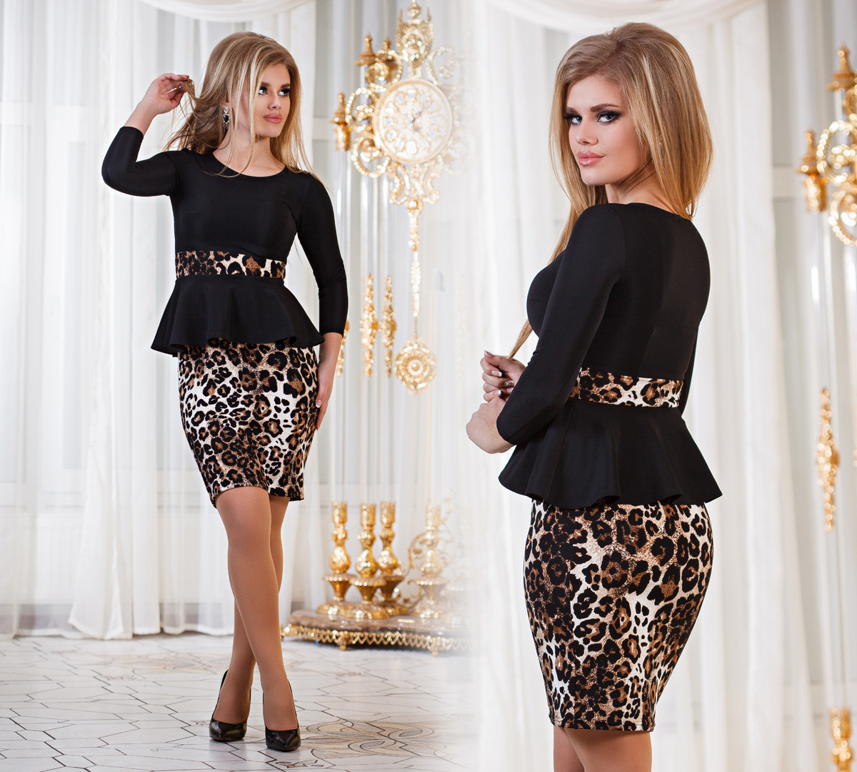 Д794  Платье с баской  Леопард