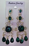 Свадебные серьги с зеленым камнем (С-Од-4)