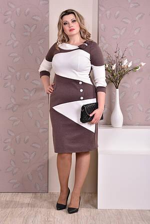 Коричневое с белым платье