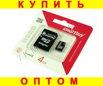 Карта памяти smartbuy microSD 4 gb 4 class с переходником D100