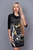 Интересное платье с красивым рисунком в черном цвете
