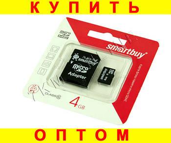 Карта памяти smartbuy microSD 4 gb 10 class с переходником D100