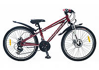 Велосипед алюминиевый для девочки и мальчика спортивный OPTIMA BLACKWOOD DD 24 дюйма