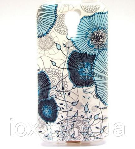 """Чехол силиконовый """"Голубые цветы"""" для Samsung Galaxy S4 mini"""